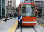 Seattle streetcar - driver and his streetcar.