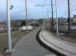 Seattle streetcar track along the Lake Union Park